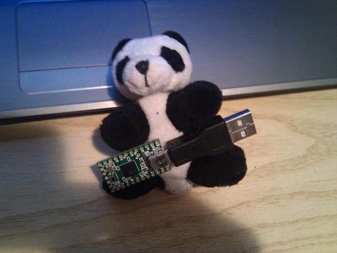 Un peluche panda y mi teensy